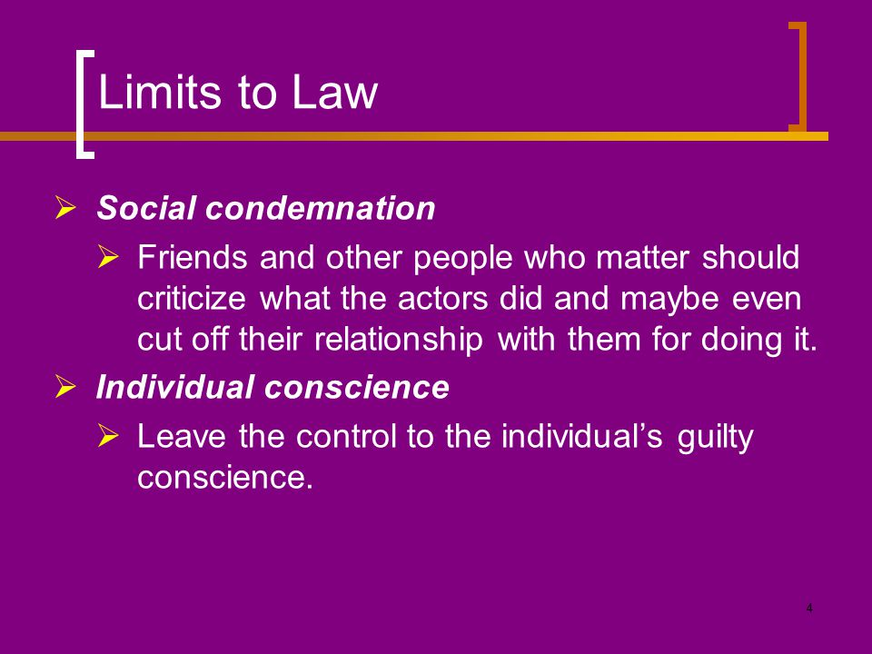 Limits to Law Social condemnation