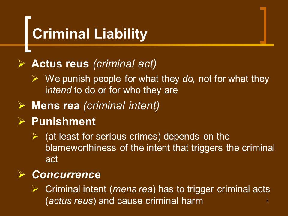 Criminal Liability Actus reus (criminal act)