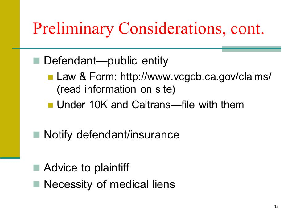 Preliminary Considerations, cont.