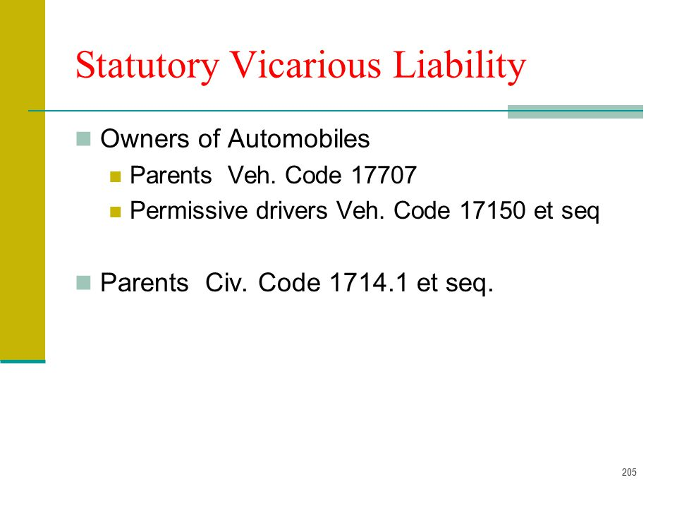 Statutory Vicarious Liability