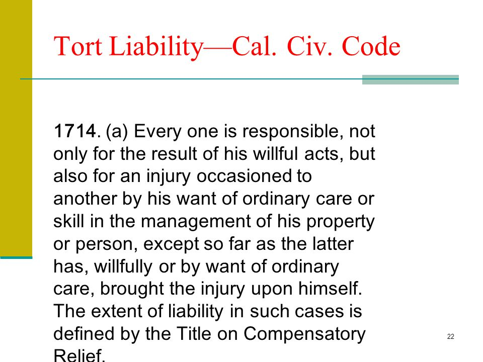 Tort Liability—Cal. Civ. Code