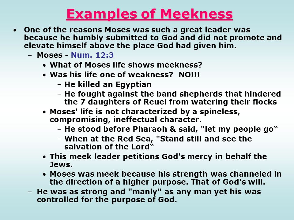 Examples of Meekness