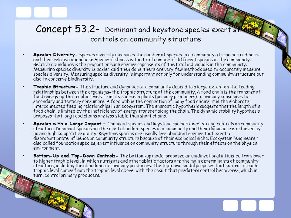 Concept 53.2- Dominant and keystone species exert strong controls on community structure