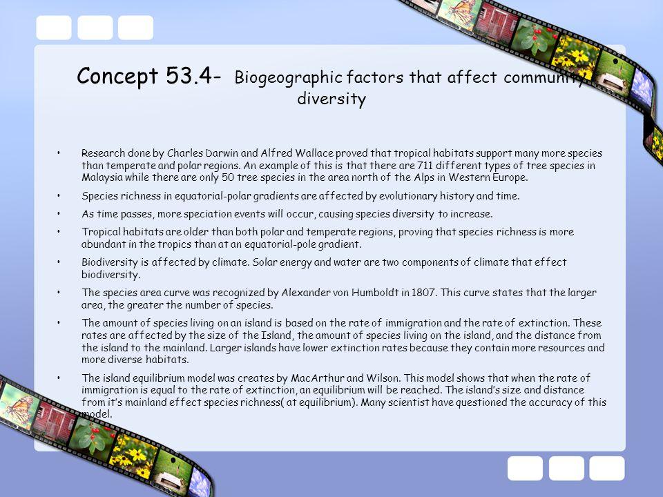 Concept 53.4- Biogeographic factors that affect community diversity