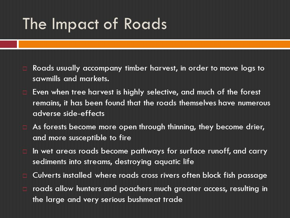 The Impact of Roads Roads usually accompany timber harvest, in order to move logs to sawmills and markets.