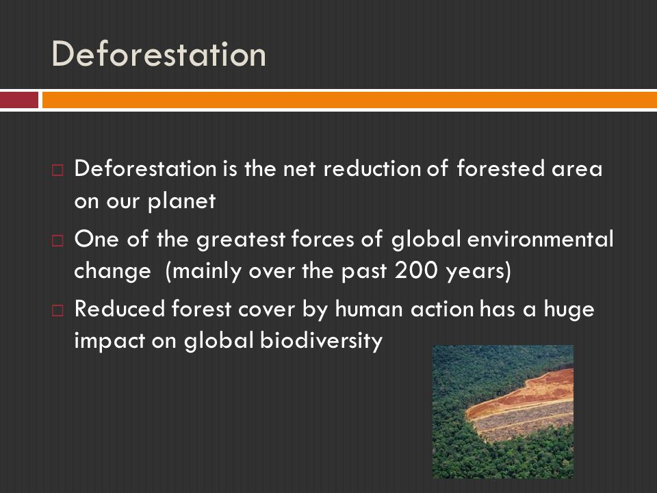 Deforestation Deforestation is the net reduction of forested area on our planet.