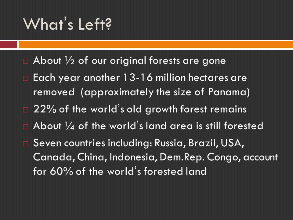 What's Left About ½ of our original forests are gone