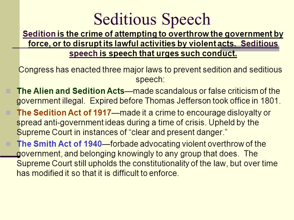 Seditious Speech