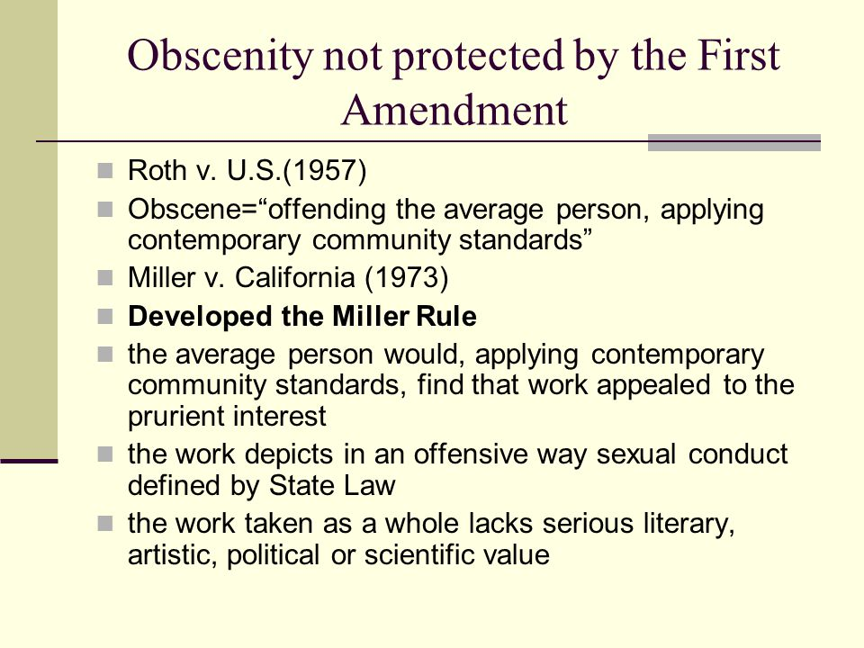 Obscenity not protected by the First Amendment