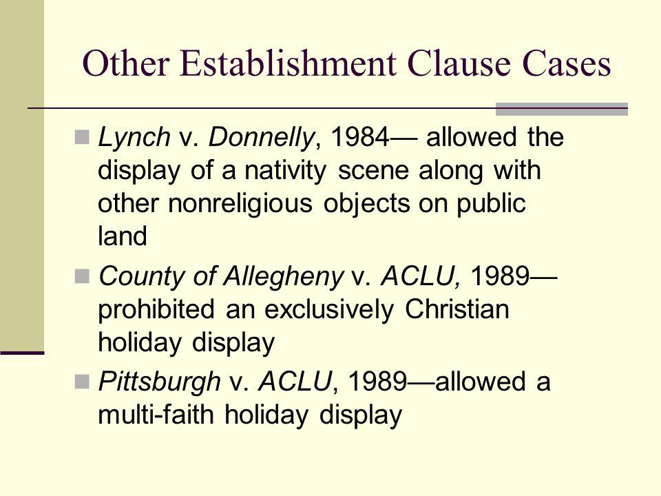Other Establishment Clause Cases