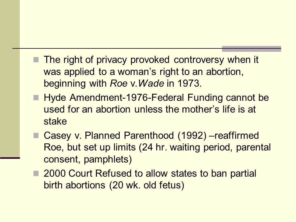 The right of privacy provoked controversy when it was applied to a woman's right to an abortion, beginning with Roe v.Wade in 1973.
