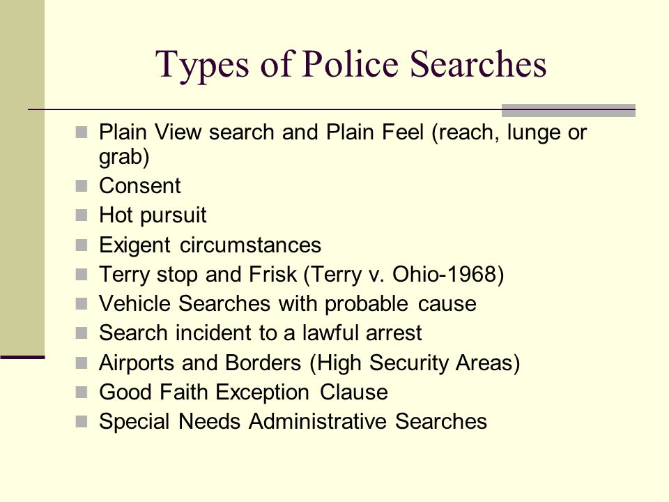Types of Police Searches