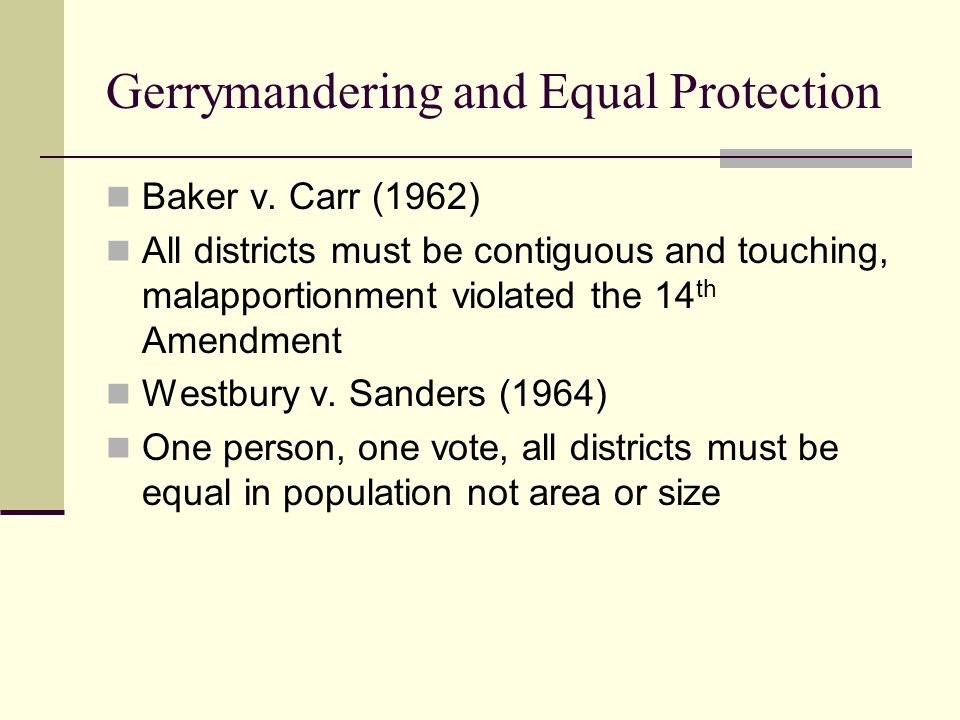 Gerrymandering and Equal Protection