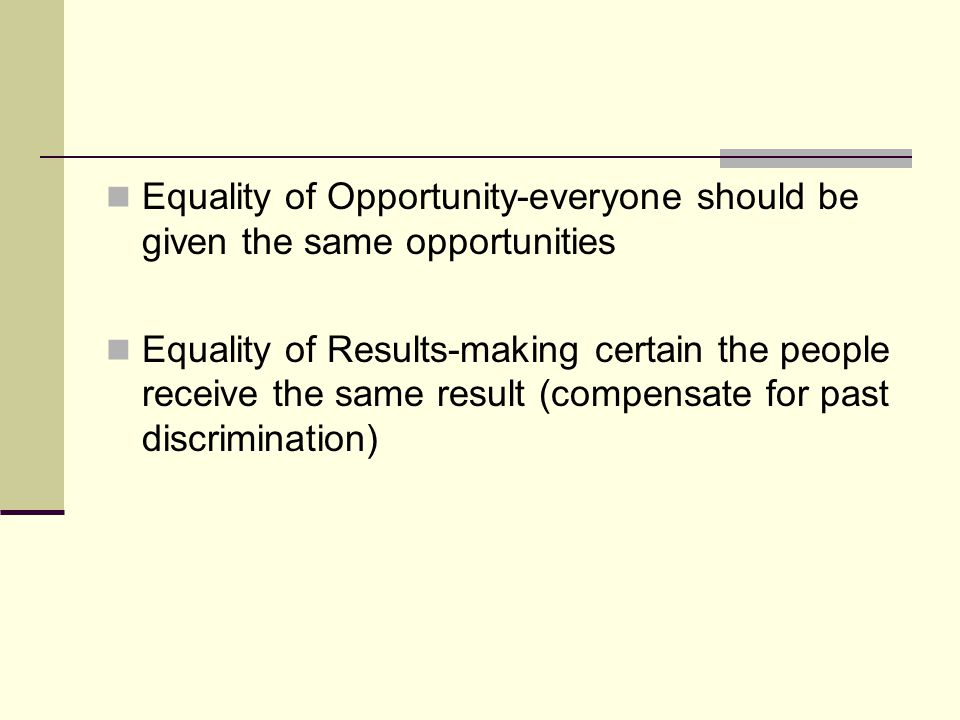 Equality of Opportunity-everyone should be given the same opportunities