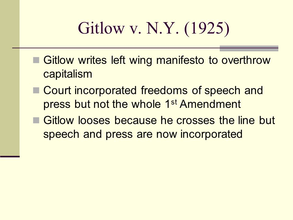 Gitlow v. N.Y. (1925) Gitlow writes left wing manifesto to overthrow capitalism.