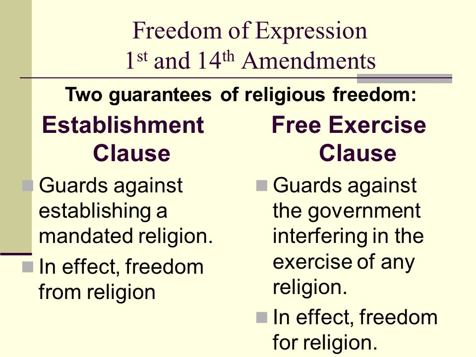 Freedom of Expression 1st and 14th Amendments