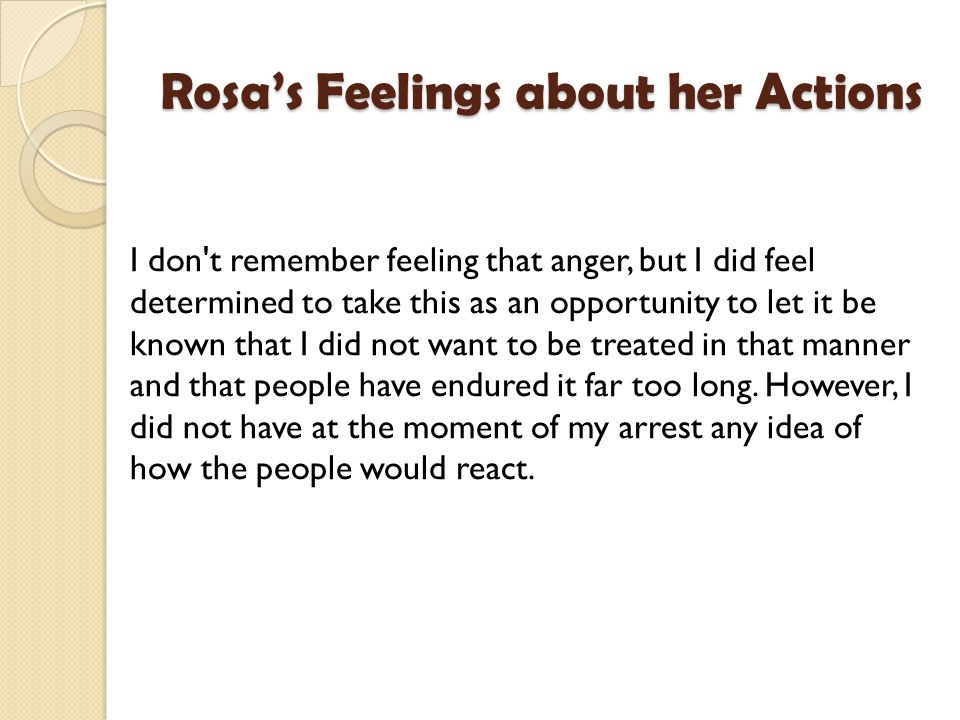 Rosa's Feelings about her Actions