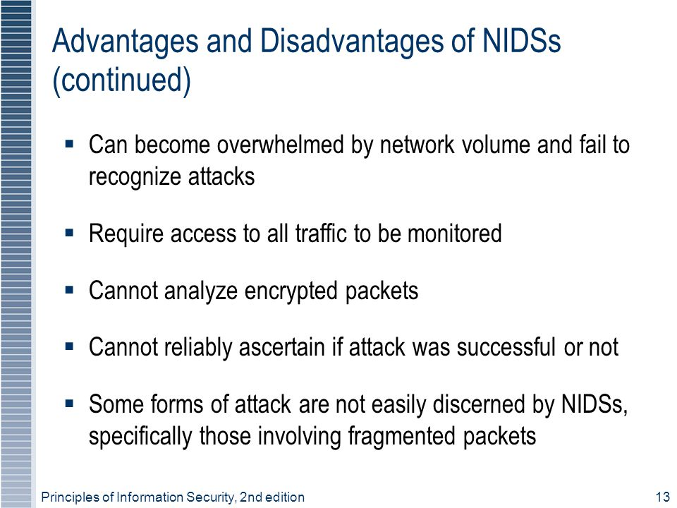 Advantages and Disadvantages of NIDSs (continued)