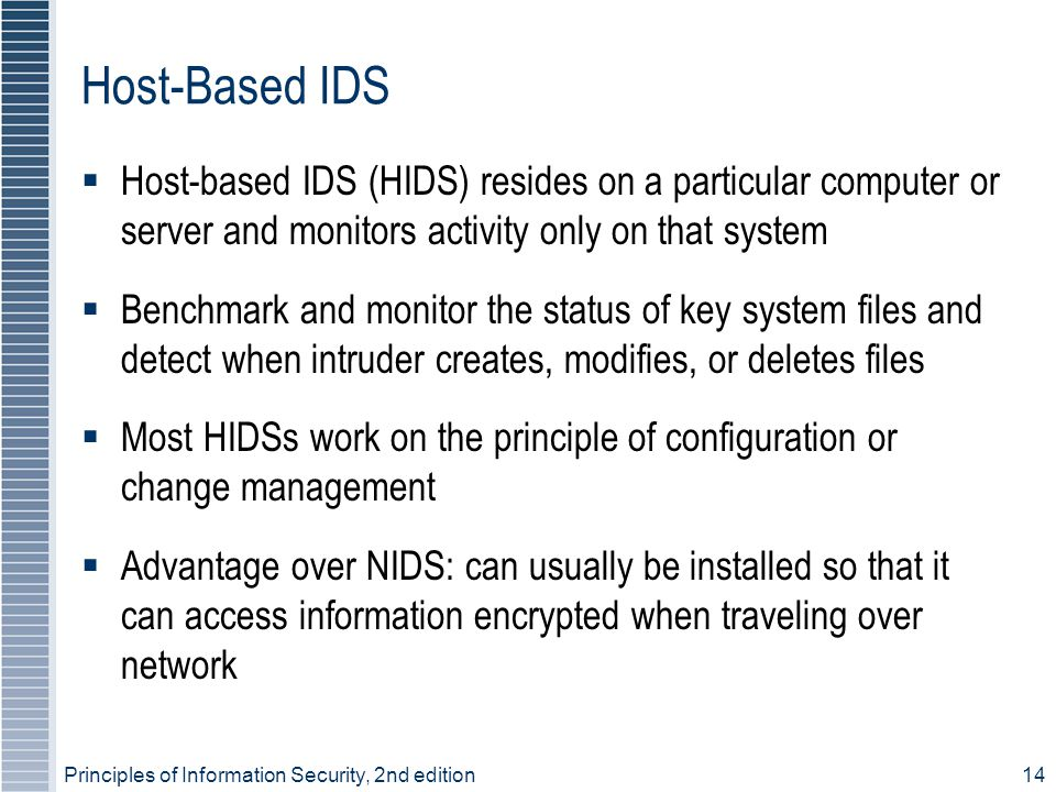 Host-Based IDS Host-based IDS (HIDS) resides on a particular computer or server and monitors activity only on that system.
