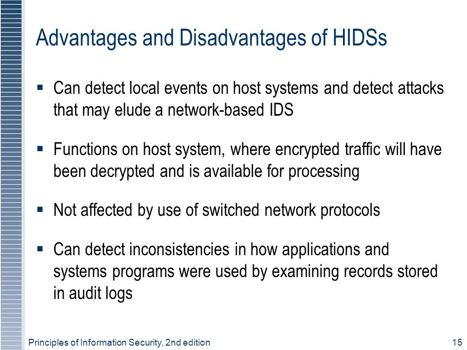 Advantages and Disadvantages of HIDSs