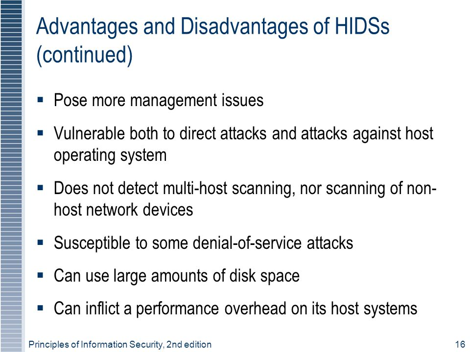 Advantages and Disadvantages of HIDSs (continued)