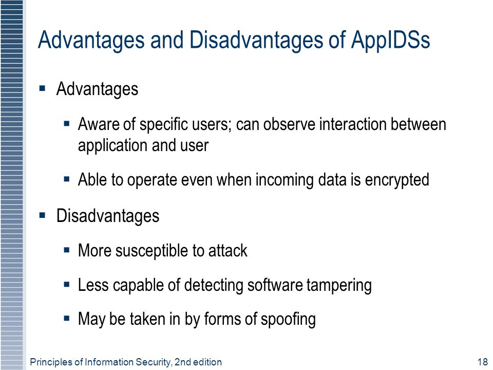 Advantages and Disadvantages of AppIDSs