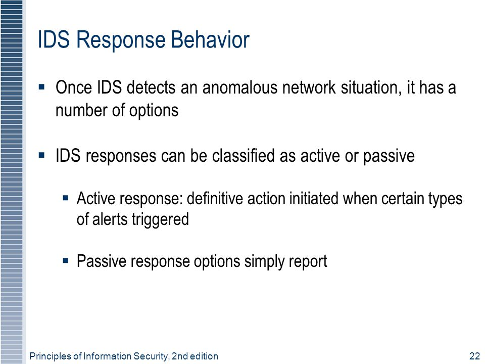 IDS Response Behavior Once IDS detects an anomalous network situation, it has a number of options.