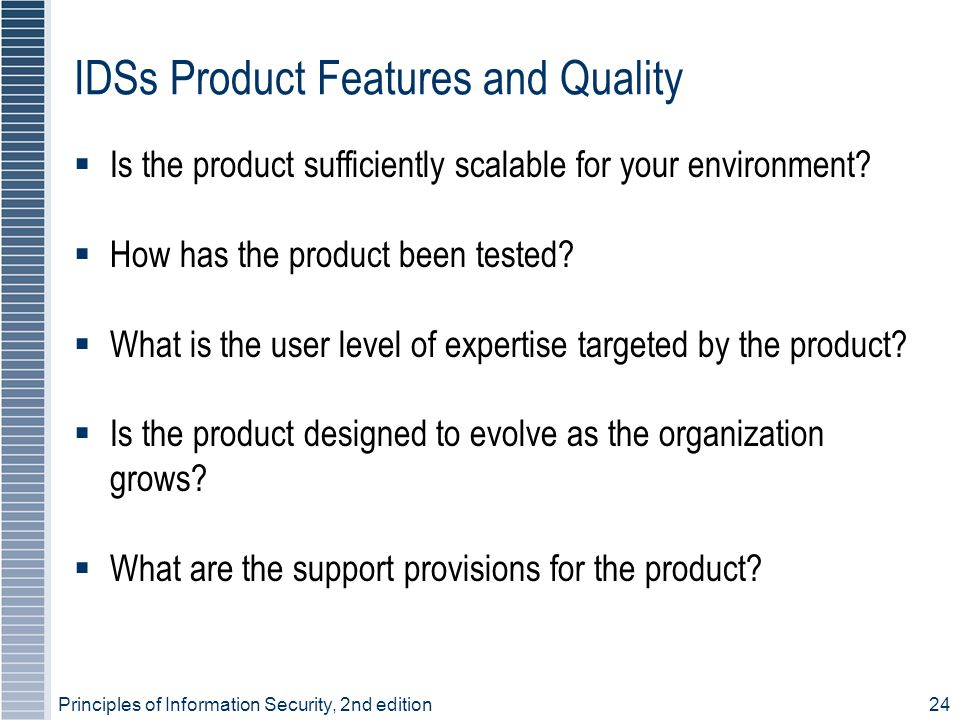 IDSs Product Features and Quality