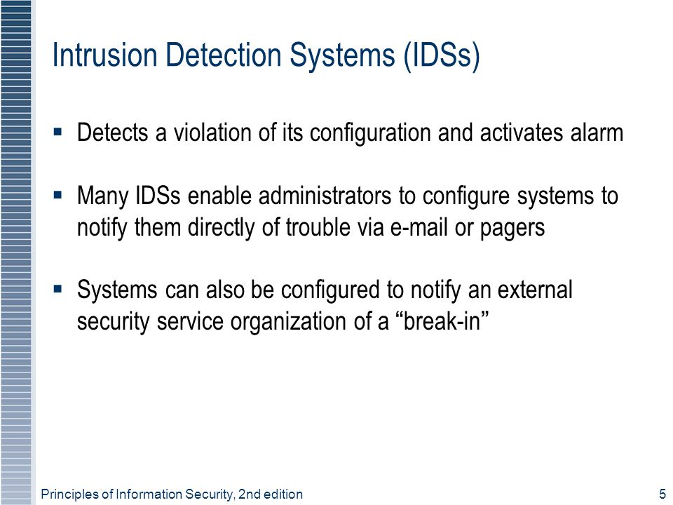 Intrusion Detection Systems (IDSs)