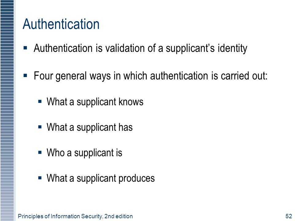 Authentication Authentication is validation of a supplicant's identity
