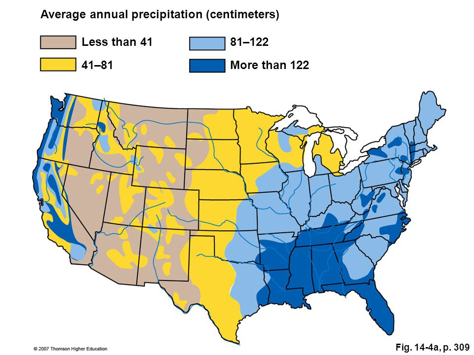 Average annual precipitation (centimeters)
