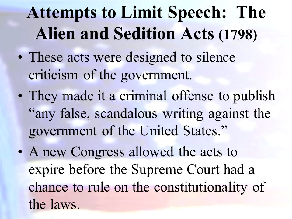 Attempts to Limit Speech: The Alien and Sedition Acts (1798)