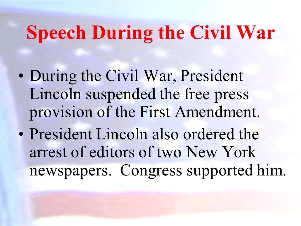 Speech During the Civil War