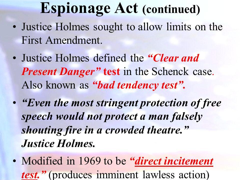 Espionage Act (continued)