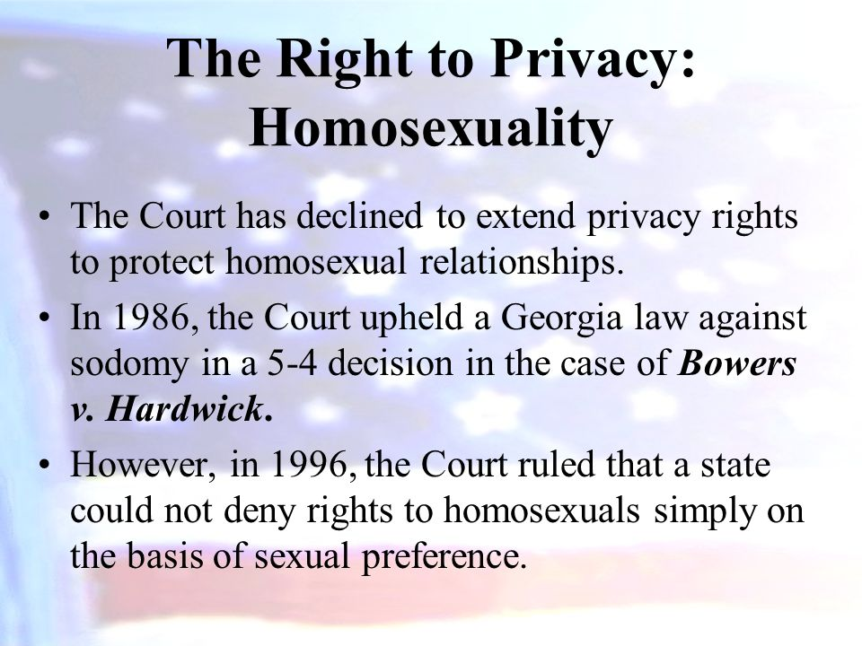 The Right to Privacy: Homosexuality