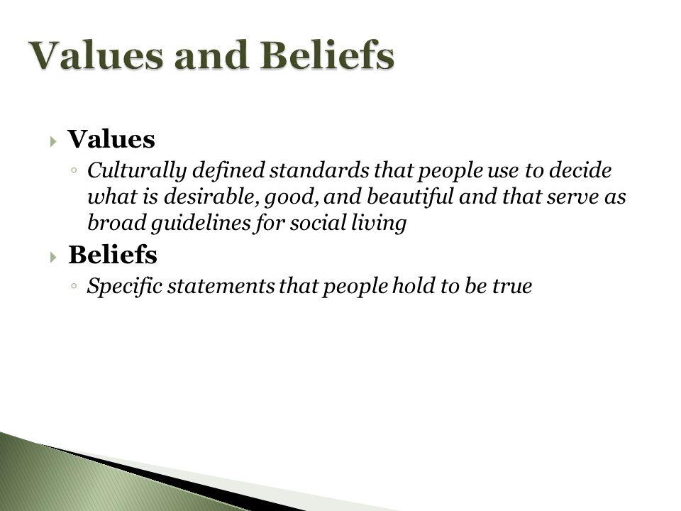 Values and Beliefs Values Beliefs