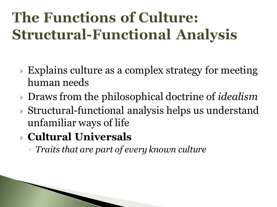 The Functions of Culture: Structural-Functional Analysis