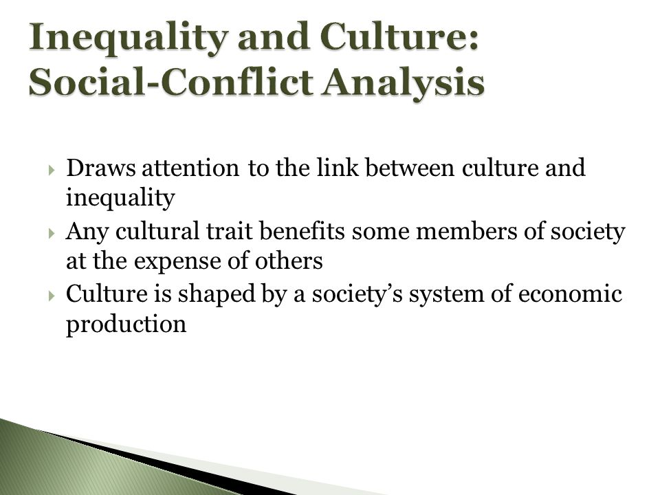 Inequality and Culture: Social-Conflict Analysis