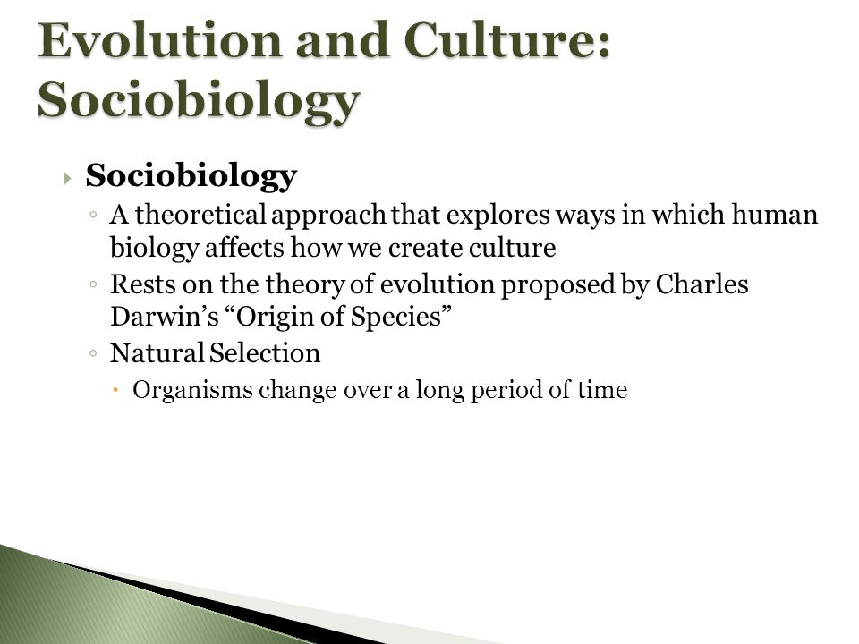 Evolution and Culture: Sociobiology