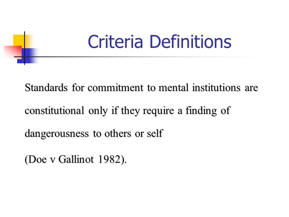 Criteria Definitions