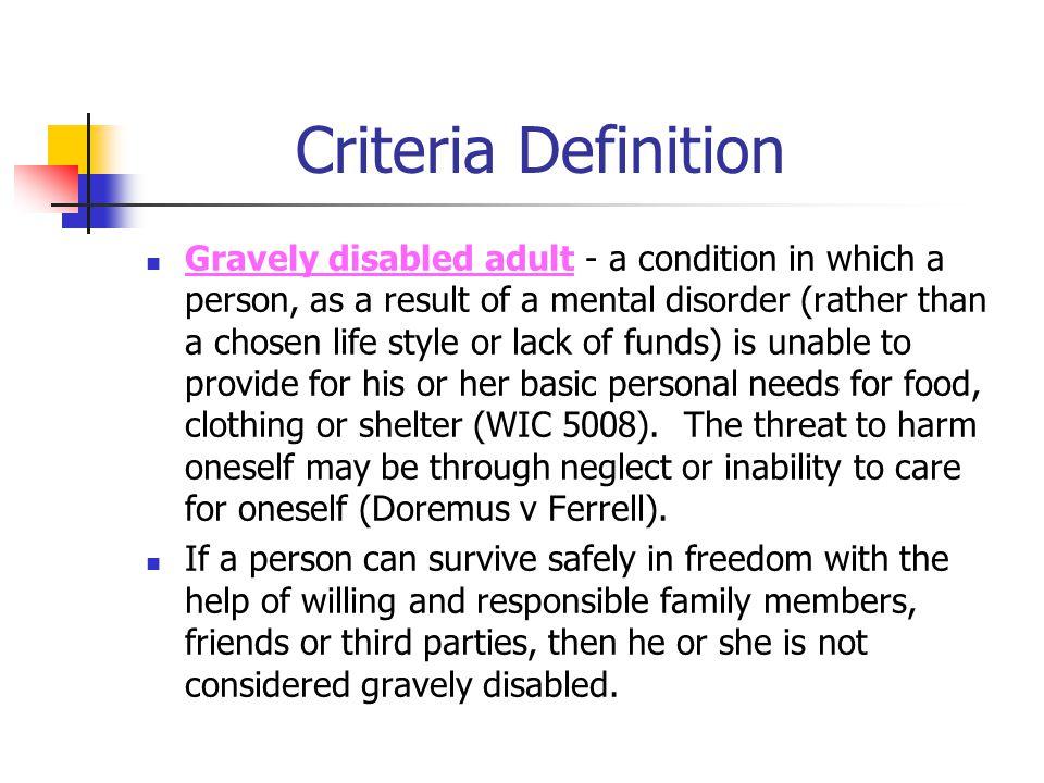 Criteria Definition