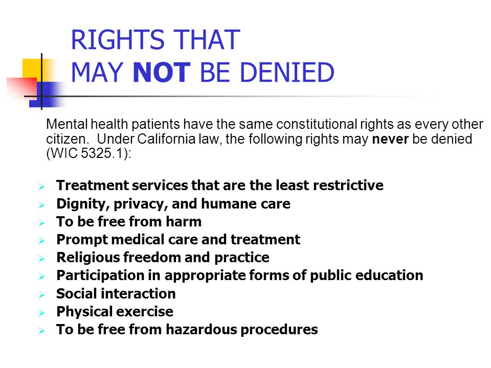 RIGHTS THAT MAY NOT BE DENIED