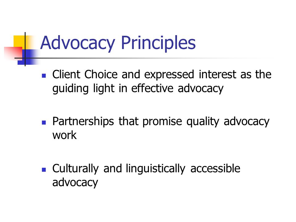 Advocacy Principles Client Choice and expressed interest as the guiding light in effective advocacy.