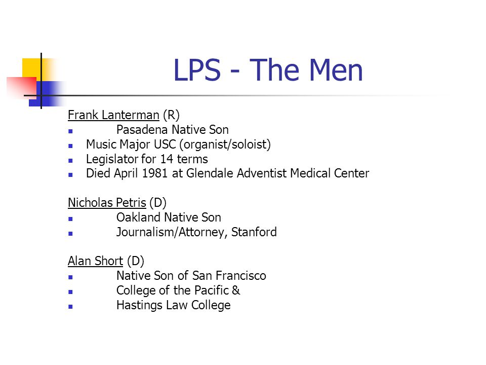 LPS - The Men Frank Lanterman (R) Pasadena Native Son