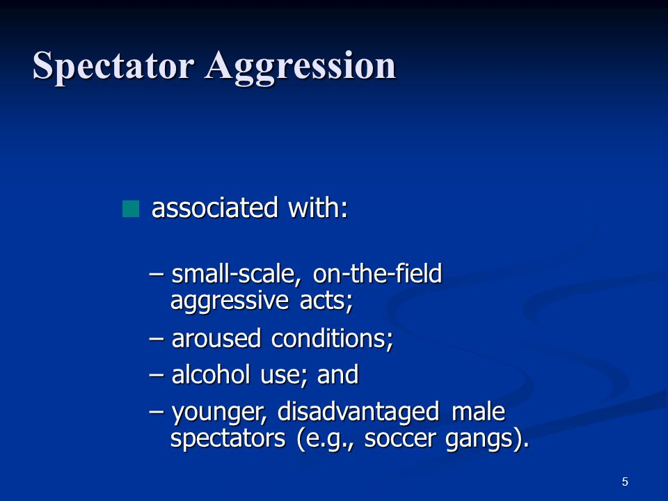 Spectator Aggression associated with: