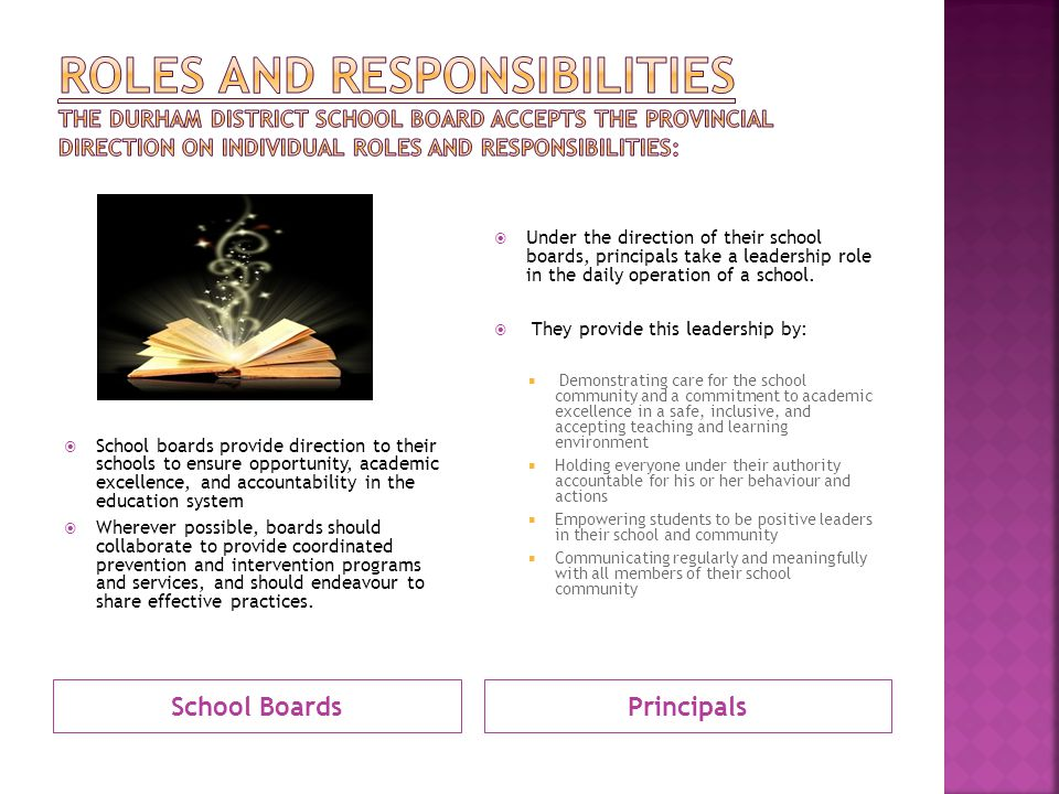 ROLES AND RESPONSIBILITIES The Durham District School Board accepts the provincial direction on individual roles and responsibilities: