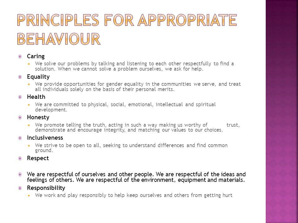 principles for appropriate behaviour
