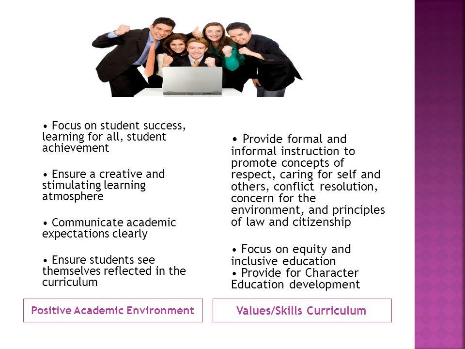 Positive Academic Environment Values/Skills Curriculum