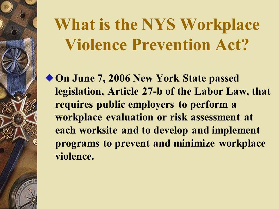 What is the NYS Workplace Violence Prevention Act