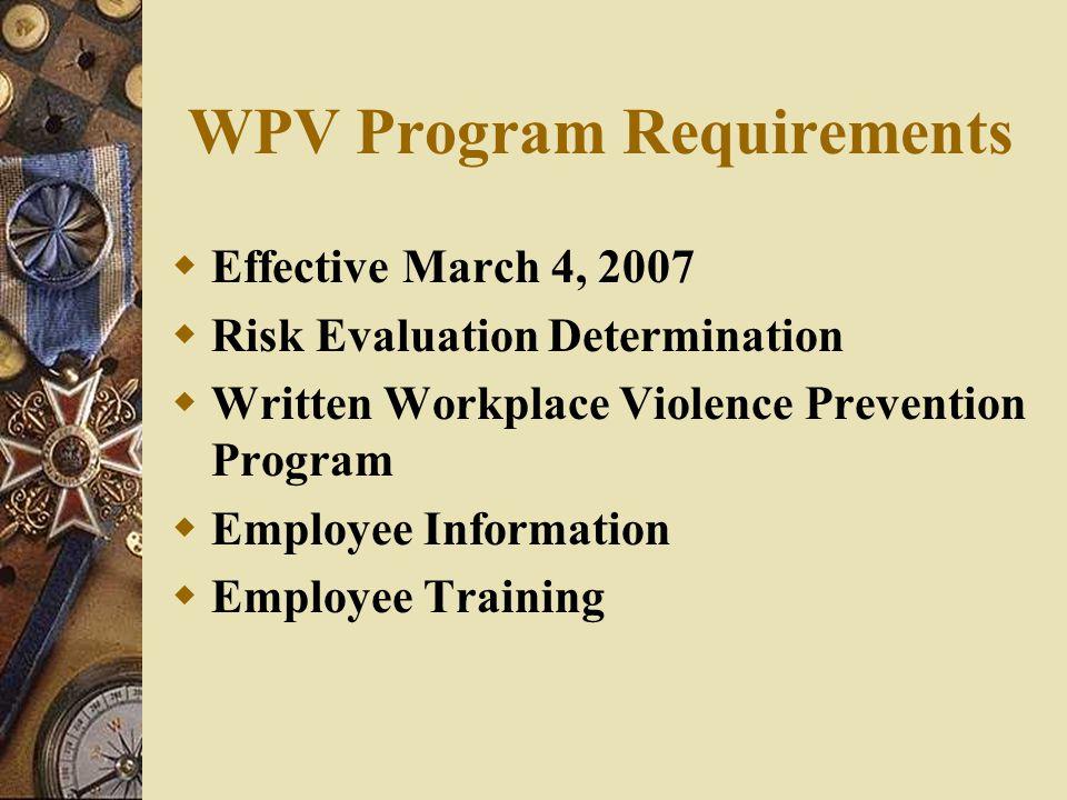 WPV Program Requirements